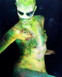 green lizard body painting